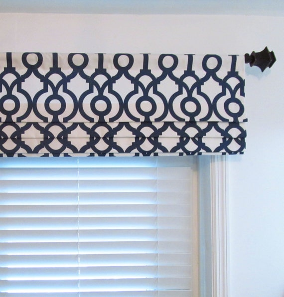 faux roman shade lined mock roman valance lyon premier navy. Black Bedroom Furniture Sets. Home Design Ideas