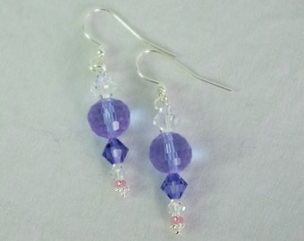 SALE - Purple Passion and Delicate Pink Czech Glass and Swarovski Crystal Beaded Dangle Earrings with Sterling Silver Fish Hook Ear Wires