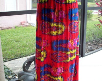 Colorful Flower and Paisley Print Skirt