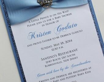 Blue Baby Prince Baby Shower Invitation with Sparkling Crown; Rhinestone Buckle; Rhinestone Crown Brooch