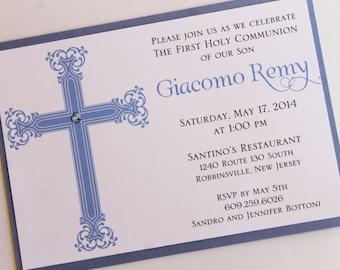 Blue Elegant Cross Baptism or Communion Invitation;Decorative Cross