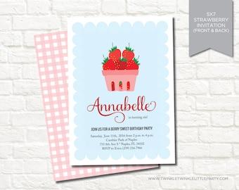 Strawberry Picnic Birthday Party Digital Invitation