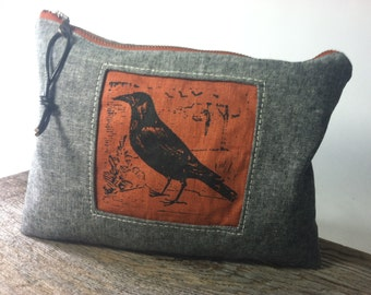 Tweed Tool Bag with Raven Print, Made to Order