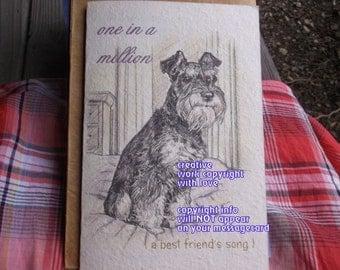 one in a million / schnauzer / storybook /Love Schnauzer/Rescue/ personalize/ sentimental/unique empathy condolence/pet sympathy/pet cards