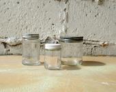 Vintage Jar Set, Three Hazel Atlas Glass Jars Metal Lids Caps, Vintage Container Storage Display, Lot of Shabby Wares