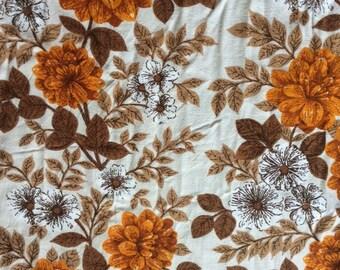 Large Piece 250cm x 120cm Vintage Original 1950's/60's retro Floral Design in Orange, Brown and White Cotton Fabric