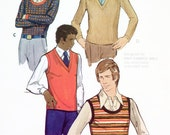 Vintage Hipster Vest Pattern Mens Sweater Vest / Svest Retro Style Scoop or V Neck 1970s Butterick 6749 Sz 42