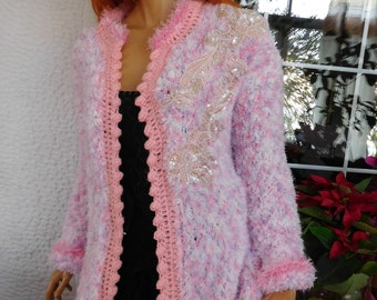 Cardigan jacket handmade knitted/ romantic asymmetrical in white pink fluffy yarn soft lovely gift idea for her women clothing by goldenyarn