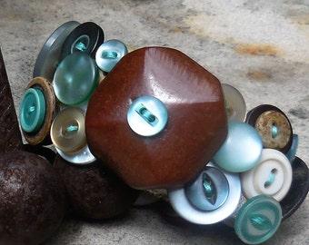 Vintage Mid-Century Button Cuff