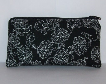 "Pipe Pouch, Black + White Floral, Pipe Case, Glass Pipe Bag, Padded Pipe Pouch, Flowers Purse, Boho Bag, 420, Glass Pipe Cozy - 5.5"" SMALL"
