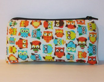 """Pipe Pouch, Cute Owls Bag, Padded Pouch, Glass Pipe Case, Glass Pipe Bag, Woodland Pouch, Hippie Pouch, Small Owl Pipe Bag - 5.5"""" SMALL"""