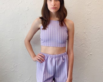 Two Piece Halter Top and Short Set Handmade with Vintage Materials Pin Up