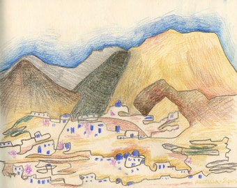 Drawing of Sifnos Island in Greece - Landscape - Coloured Pencil - Art Print