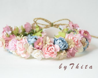 paper  flower headband  ,  wedding headband ,  flower crown