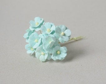 15  mm /  12  Blue Paper  Flowers