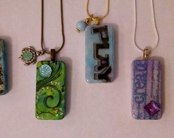 Cool Colored, Domino Necklaces, Altered Domino, Altered Art Domino, Altered Art Jewelry, Recycled Domino, Upcycled Domino, Domino Jewelry