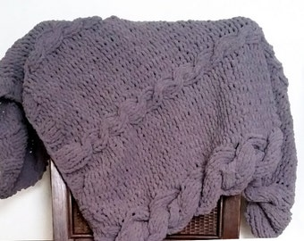Knitted Baby Blanket-Cabled Knit Baby Blanket- Rustic Handmade Blanket