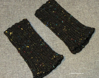 Arm Hand Wrist Warmers - Fingerless  Texting Gloves - One Size Med to Large Adult Sizes - Black with Red Yellow Blue Highlights - Item 4563