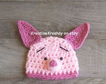 Piglet HAT ONLY -  inspired by Winnie the Pooh  (Newborn - 3 Months & 3-6 Months Sizes)