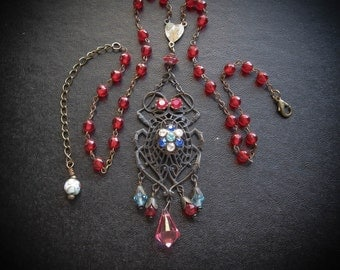 Scarab Beetle Necklace and Vintage Rosary. Bohemian Czech Brass and Crystals. Gothic Gypsy Tribal