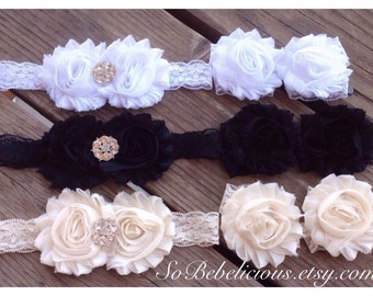 SALE Baby Girl LACE Shabby Sandals & Headband Set 0-3 3-6 6-12 12-18 mos white cream black shower spring summer Gift special occasion