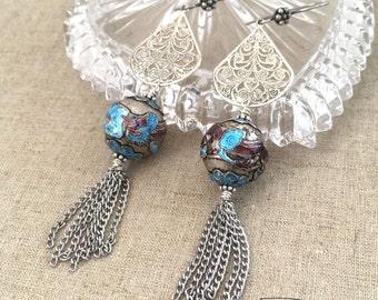 Vintage Assemblage Asian Earrings - Assemblage Statement Dragon Earrings - Oriental Earrings - Dangle Earrings