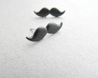 Black Mustache Stud Earrings
