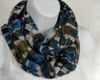 Cotton Knit Infinity Scarf Tribal Ikat Denim Blue Infinity Sweater Knit Scarf / Chunky Scarf / Fall Scarf / Winter Scarf Blue Infinity Scarf