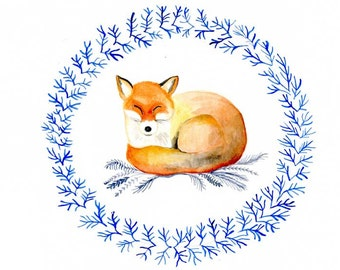 Sleeping Fox, Illustration print, watercolour painting, fox art