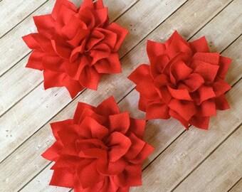 "Red Fabric Flowers 3"" - 7cm Soft Poinsettia Flowers Kanzashi DIY Baby Headband Supplies Wholesale flowers embellishment applique Lotus"