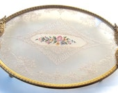 Vintage Floral Embroidery & Lace Vanity Perfume Dresser Tray /Ornate Gold Filigree