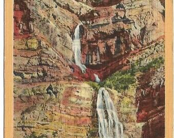 Bridal Veil Falls, Provo Canyon Utah Linen Post card Vintage Postcard