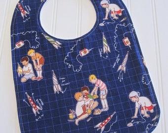Toddler Bib/12-24 mo./Rocket Launch Club/Organic Fleece Back