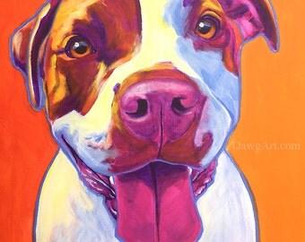 Pit Bull, Pit Bull Art, Pet Portrait, DawgArt, Dog Art, Pet Portrait Artist, Colorful Pet Portrait, Art, Art Prints, Pit Bull Painting