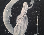 Spirit - Photo Print of an Original Painting of Spirit Writing on the Crescent Moon - Victorian Gothic Witch