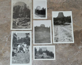 Devils Tower Antique Photographs - Lot of 6 Original Photos - Late 1910's or Early 1920's - American Travel / Wyoming