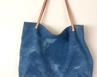 Hand-bleached denim tote woth leather straps- 003