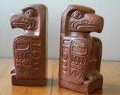 Vintage Pair of Totem Bookends  - Nanaimo British Columbia - Canada - Tribal - Abstract - Minimalist