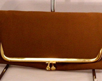 Vintage Brown Fold over Clutch Cloth Purse 1970s with Gold Collapsible Chain Retro Bag