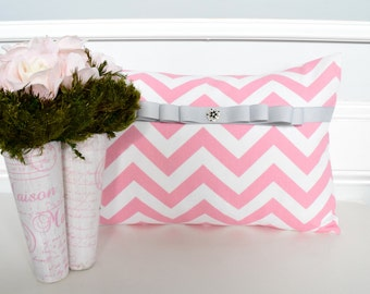 12x18 Decorative Pillow Cover In Pink Chevron Pillow covers, Throw Pillows