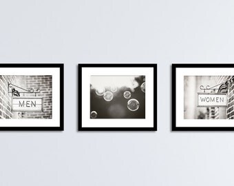 Bathroom Photography Set - Bath Room Art Prints, Black and White Wall Decor, Men Women Grey Restroom Photos, Gray Neutral Bubble Washroom
