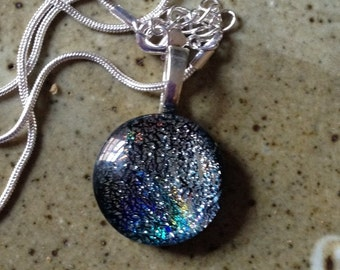 Silver dichroic glass pendant, one of a kind, bohemian jewelry
