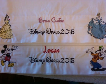 Disney 2 Embroidery Autograph Pillowcase with Ship, Disney World