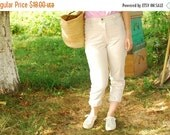 SALE White High Waisted Pants Jeans VINTAGE 80s mom jeans