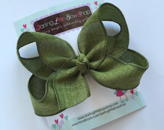 Olive Green Bow, Olive Green Hairbow --  choose 4 inch or 5 inch bow -- burlap look perfect for Autumn