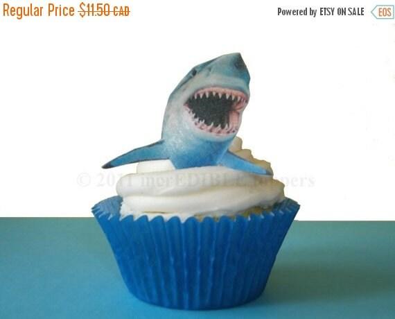 SALE Cake Cupcake Toppers SHARK WEEK - 12 Edible Sharks - Shark Cupcakes, Boys Birthday, Birthday Cake Decorating Supply