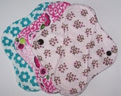 Set of 3 Flannel  panty liners with wings 8 inches in floral prints