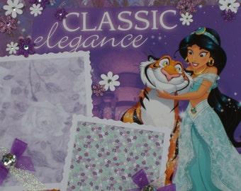 Disney Princess Jasmine Aladdin Genie Abu Magic Carpet Jafar Birthday Cinderella Ariel Snow White 12x12 Premade Scrapbook Pages by KARI
