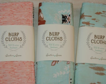 Baby Burp Cloths Cotton Chenille Burp Cloths Woodland Animals in Mint Baby Shower Gift