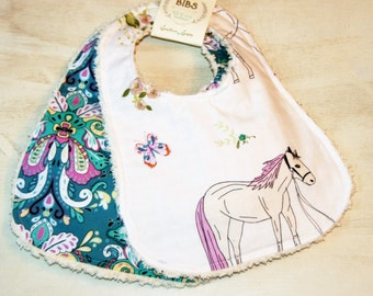 Baby Bibs Set of 2 Cotton Chenille Bibs Baby Shower Gift Damask Boho Horse Teal Purple